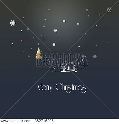 Beautiful Stylish Minimalist Christmas 2021 New Year Winter Night Landscape With Snowflakes, Houses,