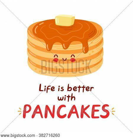 Cute Happy Funny Pancakes. Isolated On White Background. Vector Cartoon Character Hand Drawn Style I