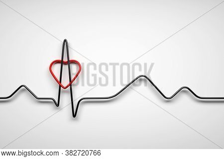 Simple Concept Illustration Of Healthy Heart With Heart Beat Ecg Line And Red Heart Shape On White B