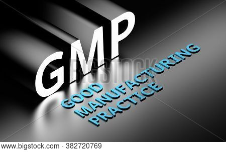Large Bold Word Gmp - Good Manufacturing Practice Written In Glowing White Blue Letters On Black Bac