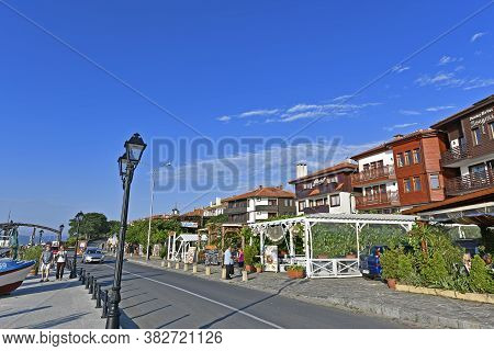 Bulgaria, Nessebar 06/25/2018. Bulgarian City Located On A Rocky Peninsula, North Of The City Of Bur