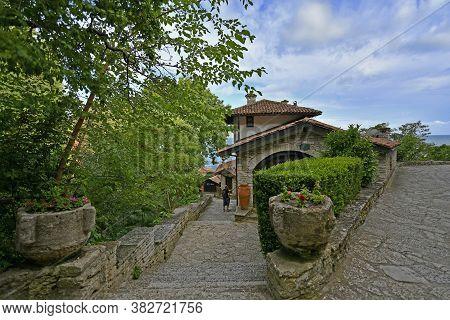 Bulgaria, The City Of Balchik 06/28/2018. Palace In Balchik, Located On The Bulgarian Black Sea Coas