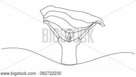 One Continuous Line Drawing Of A Happy Young Woman Celebrates Victory Holding A Flag In Her Hands. G