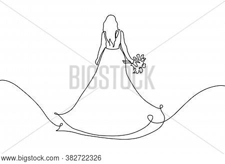 Bride With A Bouquet Drawing In One Continuous Line. One Line Of A Bride Wearing A Wedding Dress. Ma