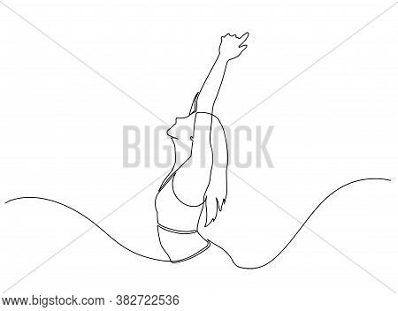 Continuous Line Drawing Of Happy Woman Raising Hands. Continuous Line Art Or One Line Drawing Of A W