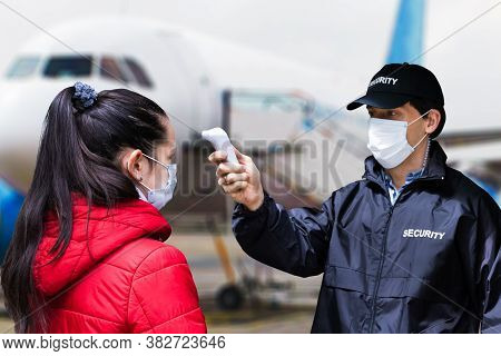 Airport And Airplane Temperature Check Protected From Covid 19