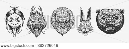 Grizzly Bear, Lion And Hare. Screaming Mad Leo And Rabbit. Chinese Dragon. Japanese Woman Snake. Ani