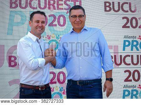 Bucharest, Romania - July 26, 2020: Robert Negoita, Candidate For General Mayor Of Bucharest, And Vi