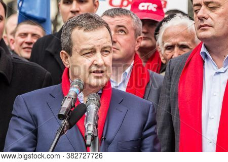 Subotica, Serbia - March 27, 2016:  Ivica Dacic, Serbian Minister Of Foreign Affairs & Leader Of The