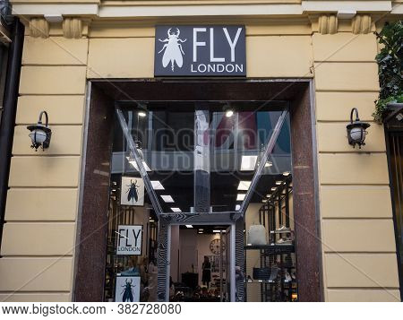 Belgrade, Serbia - April 6, 2019: Fly London Logo In Front Of Their Boutique In Belgrade. Fly London