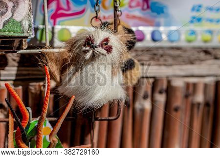 One Little Fluffy Creature Hangs On The Bamboo Background  On The Souvenir Counter.  The Sun Shines