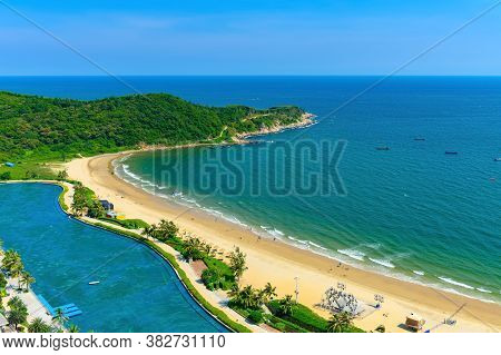 High Angle View Of A Beautiful Beach Shoreline With Soft Wave