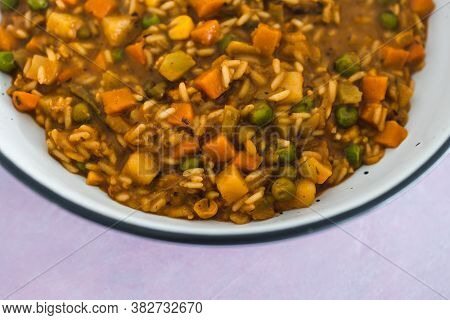 Plant-based Food, Vegan Stew With Garden Vegetables Rice And Cajun Spices