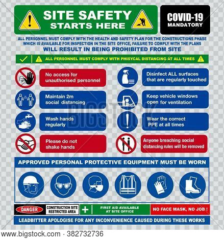 Site Safety Starts Here Or Site Safety Sign Or Health And Safety Protocols On Construction Site