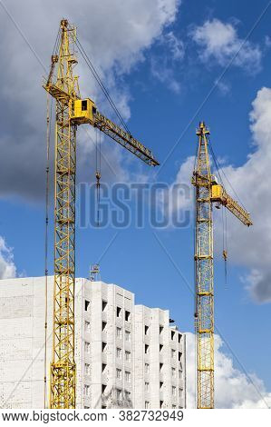 Construction Of A New Multi-storey Residential Building Made Of Reinforced Concrete Blocks, Construc