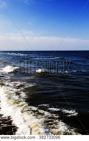 Photo Of Water At Sea, Summer Weather With A Strong Wind During A Cold Snap, The Sea In The North Of
