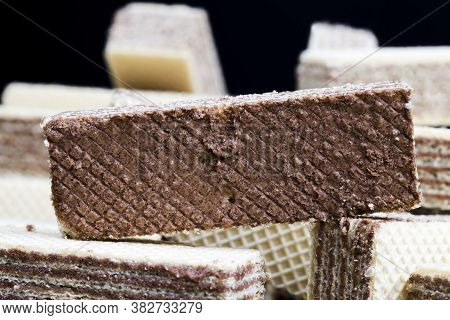 Very Sweet Because Of Sugar, Delicious And Crunchy Waffles With Chocolate Filling, Close Up Of Sweet