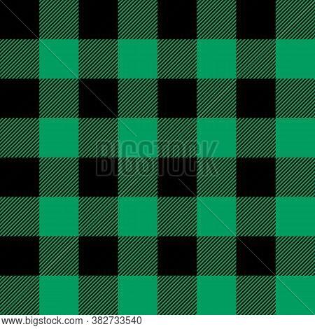 Tartan Shamrock Green Plaid. Scottish Pattern In Black And Green Cage. Scottish Cage. Traditional Sc