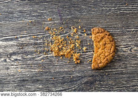Crumbled Into A Large Number Of Crumbs Oatmeal Cookies, Fresh And Bake Homemade, Sweets On The Table