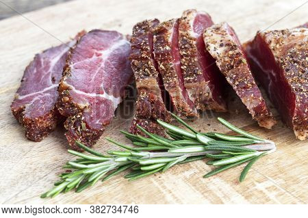 Delicious And Juicy Meat Only Pickled And Dried With Rosemary, Ready For Eating Without Cooking,