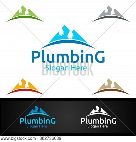 Mountain Plumbing Logo With Water And Fix Home Concept Design