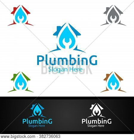Plumbing Logo With Water And Fix Home Concept