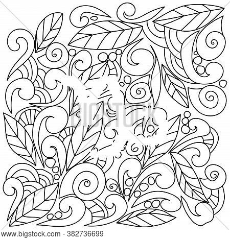 Coloring Page Using Negative Space, Silhouette Of The Zodiac Sign Capricorn, Doodle Patterns Of Leav