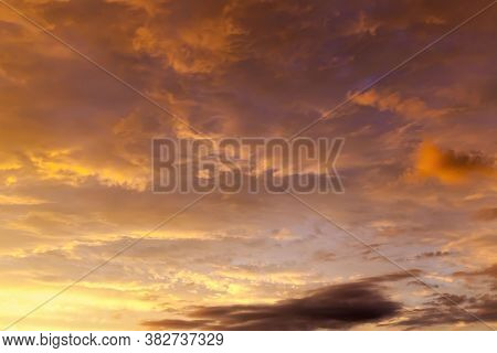 Grandiose Majestic Cloudy Sky During Sunset Or Dawn With Warm Colors And Shades, Natural Cloud Pheno