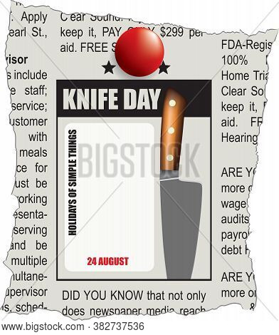 Fragment Of Classifieds Newspaper For Knife Day