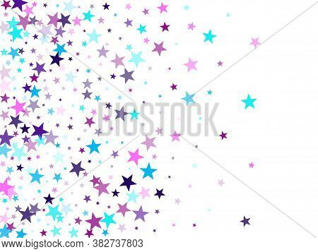 Flying Stars Confetti Holiday Vector In Cyan Blue Violet On White. Magic Sparkles Decorative Print.