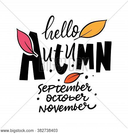 Hello Autumn. September, October And November Months. Black And White Lettering Phrase. Hand Drawn C