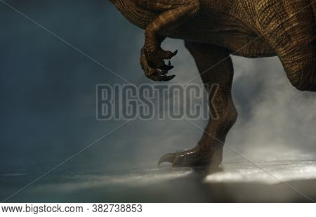 Spinosourus Dinosaurs Toy Brown On A Misty Background. Closeup Dinosaur And Monster Model. Dinosaur