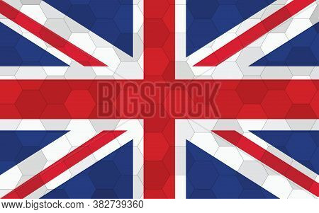 United Kingdom Flag Illustration. Futuristic British Flag Graphic With Abstract Hexagon Background V