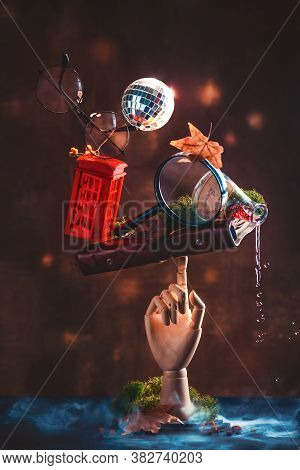 Personality In Still Life, Balancing Construction With Keepsakes And Curiosities, Wooden Hand, Disco