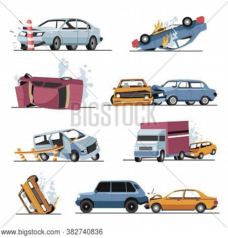 Car Crash And Damaged Vehicles, Road Accident Collision