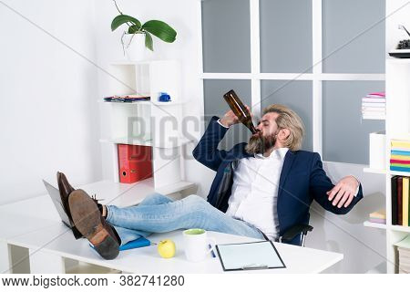 Tired Bored Businessman Yawning At Workplace Near Laptop, Boring Work, Dead End Job, Overwork Extra