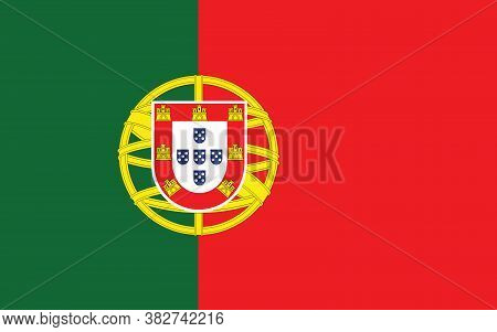 Portugal Flag Vector Graphic. Rectangle Portuguese Flag Illustration. Portugal Country Flag Is A Sym