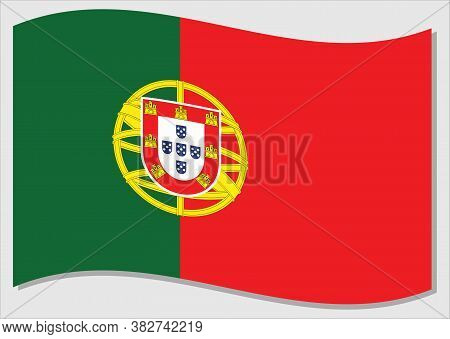 Waving Flag Of Portugal Vector Graphic. Waving Portuguese Flag Illustration. Portugal Country Flag W