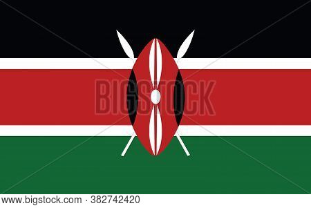 Kenya Flag Vector Graphic. Rectangle Kenyan Flag Illustration. Kenya Country Flag Is A Symbol Of Fre
