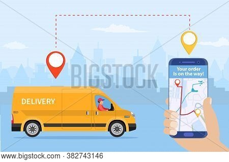 Online Delivery Service Concept, Online Order Tracking, Delivery Home And Office. Truck Van Courier.
