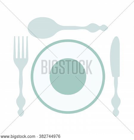 Silverware And Plate Icon. Flat Color Design. Vector Illustration.