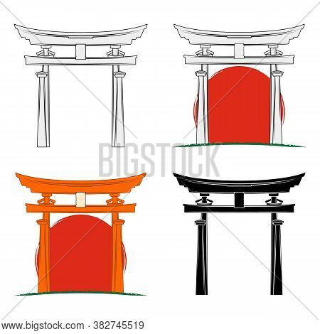 Set Of Vector Drawings Of The Sacred Gate Against The Background Of The Sun. Symbol Of Japan. Torii