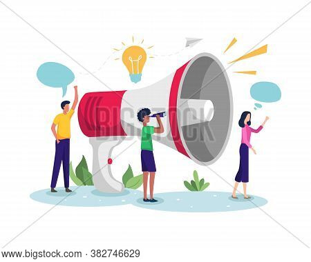 Vector Illustration Of Business Promotion. Men And Women Promoting Businesses With Large Megaphone.