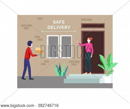 Contactless Delivery Concept. Courier Delivering A Package To Woman During Coronavirus Quarantine. C