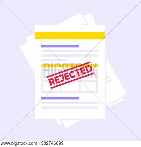 Rejected Claim Or Credit Loan Form On It, Paper Sheets And Rejected Stamp Flat Style Design Vector I