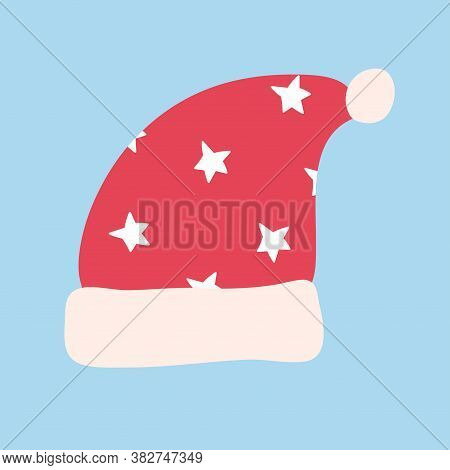 Traditional Red Santa Hat. Funny Holiday Clothes With Cute White Starry Print. Traditional Element I