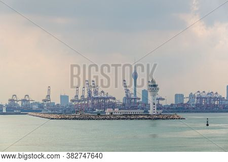Colombo, Sri Lanka - November 25, 2019: View Of The Ship Yard And Dock Of The Port Of Colombo, Sri L