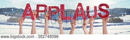 People Hands Holding Word Applaus Means Applause, Snowy Winter Background