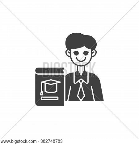 University Teacher Vector Icon. Filled Flat Sign For Mobile Concept And Web Design. Man Teacher With