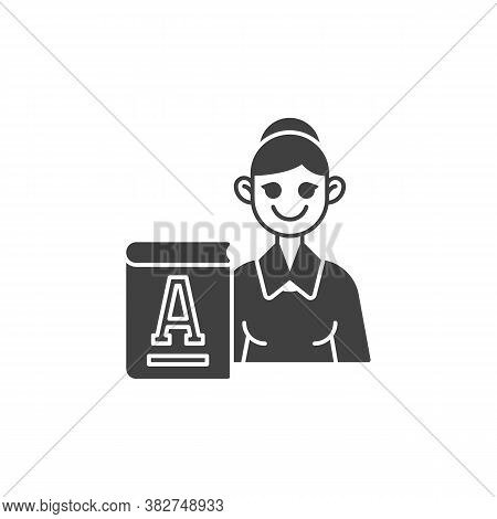 Primary School Teacher Vector Icon. Filled Flat Sign For Mobile Concept And Web Design. Woman Teache